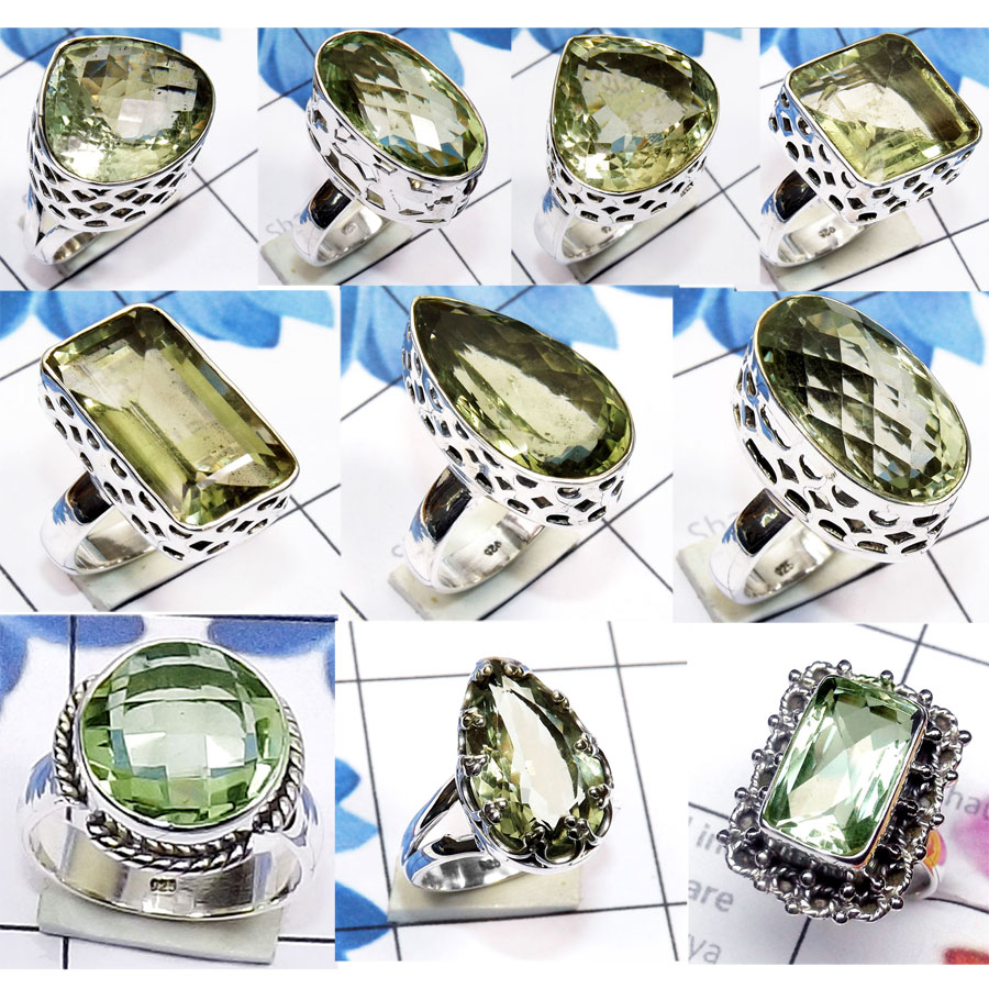 CBP972-10 Pcs. Green Amethyst Cut 925 Sterling Silver Designer Wholesale Rings