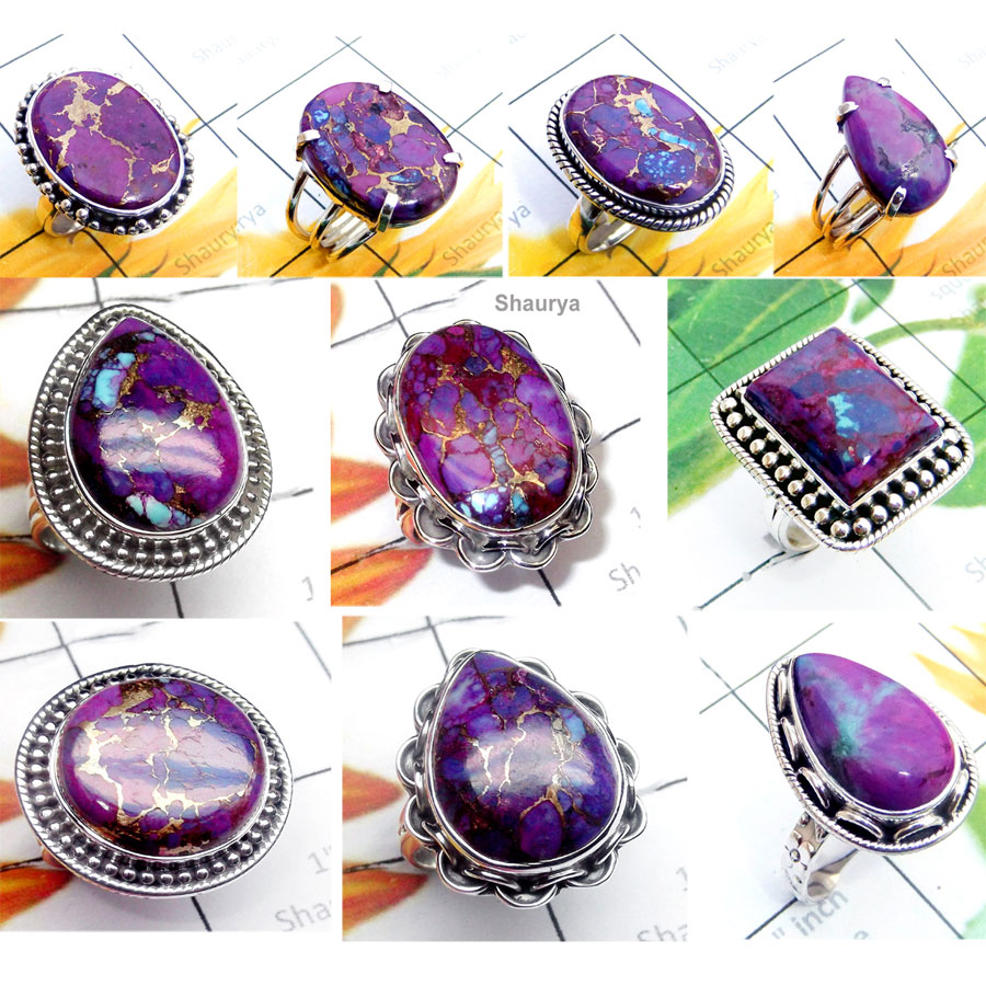 CBP974-10 Pcs. Lovely Gemstone Purple Copper Turquoise 925 Sterling Silver Wholesale Rings