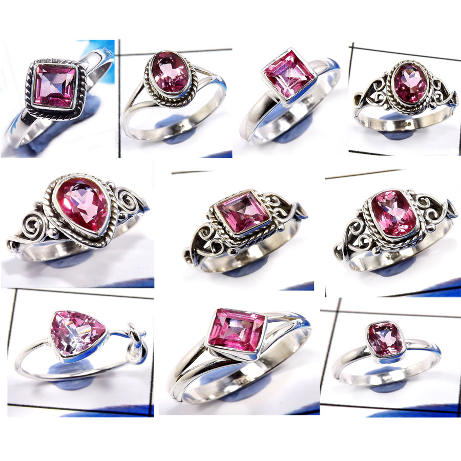 CBP984-10 PCS. Beautiful  Pink Topaz Gemstone 925 Sterling Silver Designer Rings