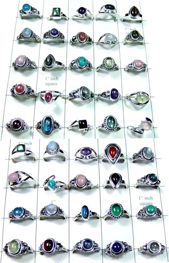 CBSR001-Assortment gems Cab mix Rings 50 Pcs.