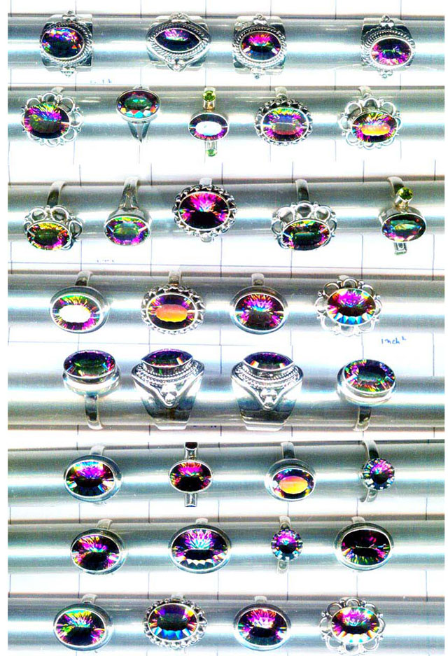 CBSR003-50 Pcs Assorted Designs & gems silver Rings