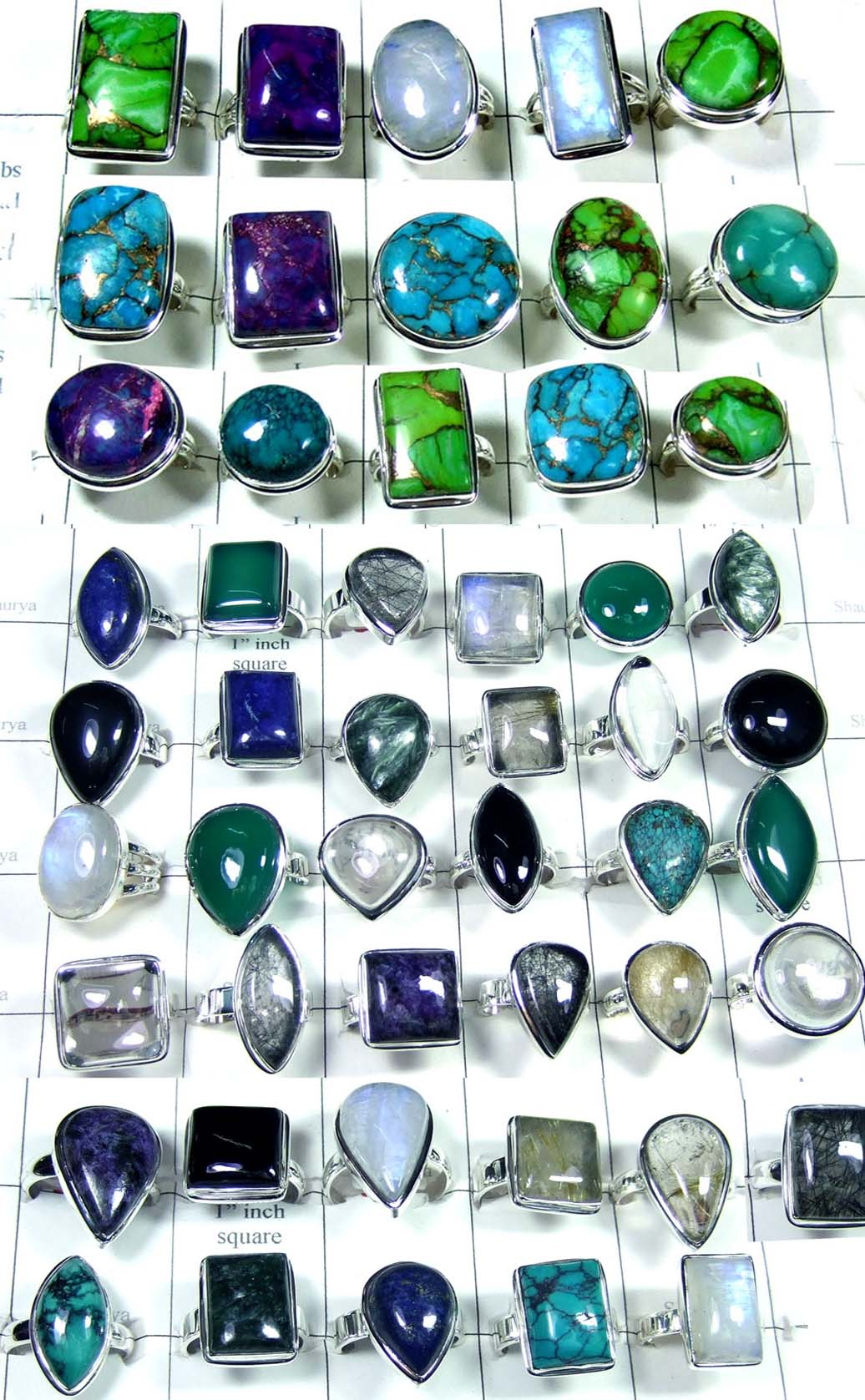 CBR005- 50 Pcs, Assorted mix gemstone Big Rings