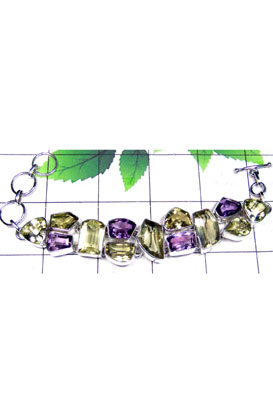 Faceted gemstone silver Chunky Bracelet-CLB005