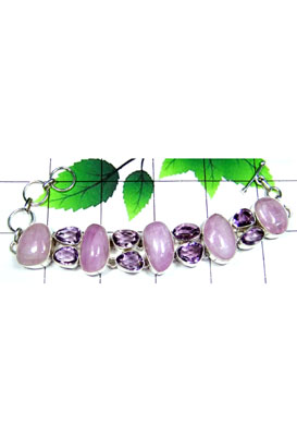 Kunzite with faceted Amethyst Cluster Bracelet-CLB009