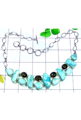 Larimar gems Cluster Necklace-CLN002