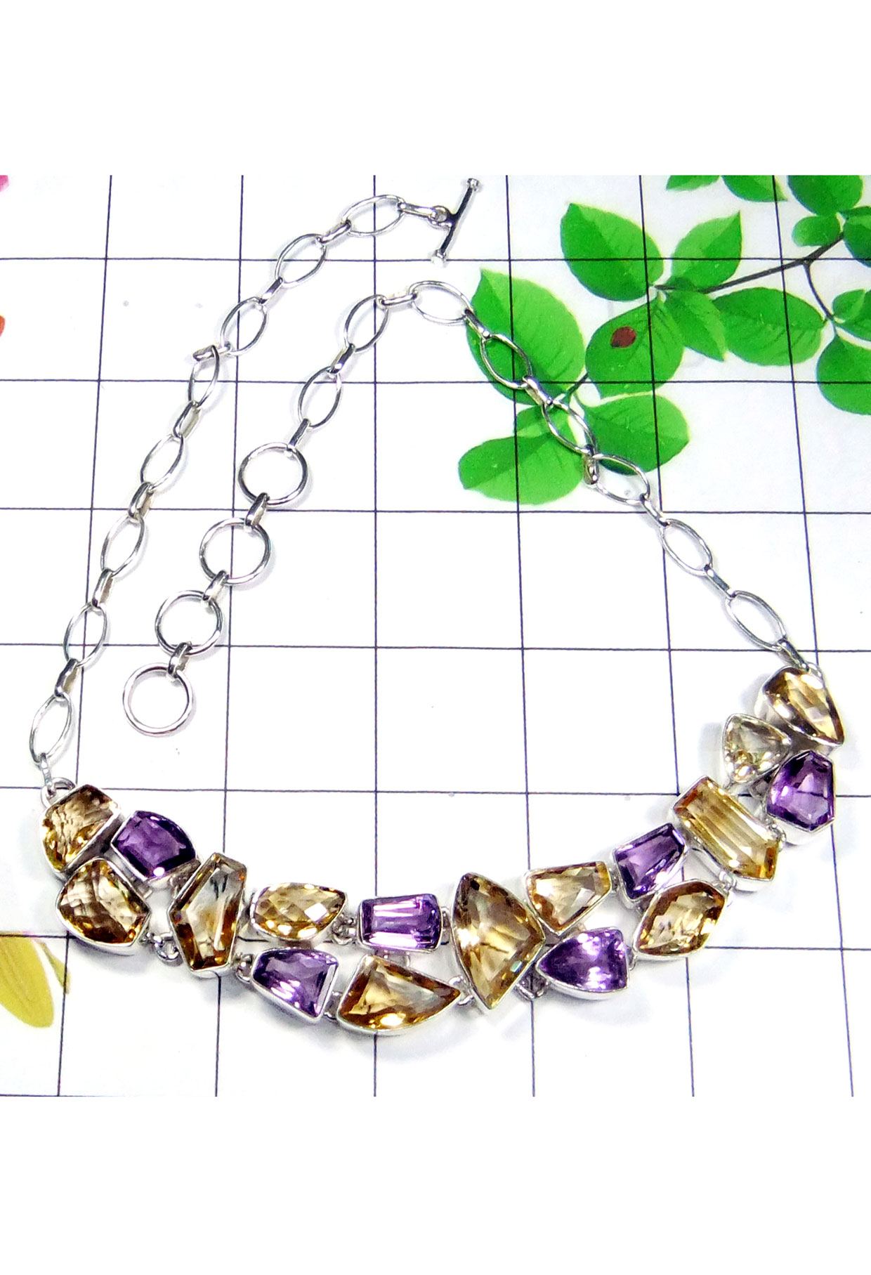 Chunky style Faceted gems silver Necklace-CLN003