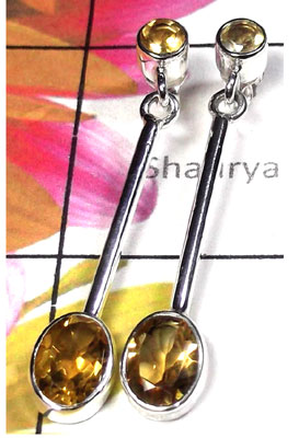 925 Silver With Citrine gems Long Earring-CTE004
