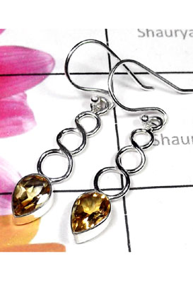 Faceted Citrine gems silver Earring-CTE005