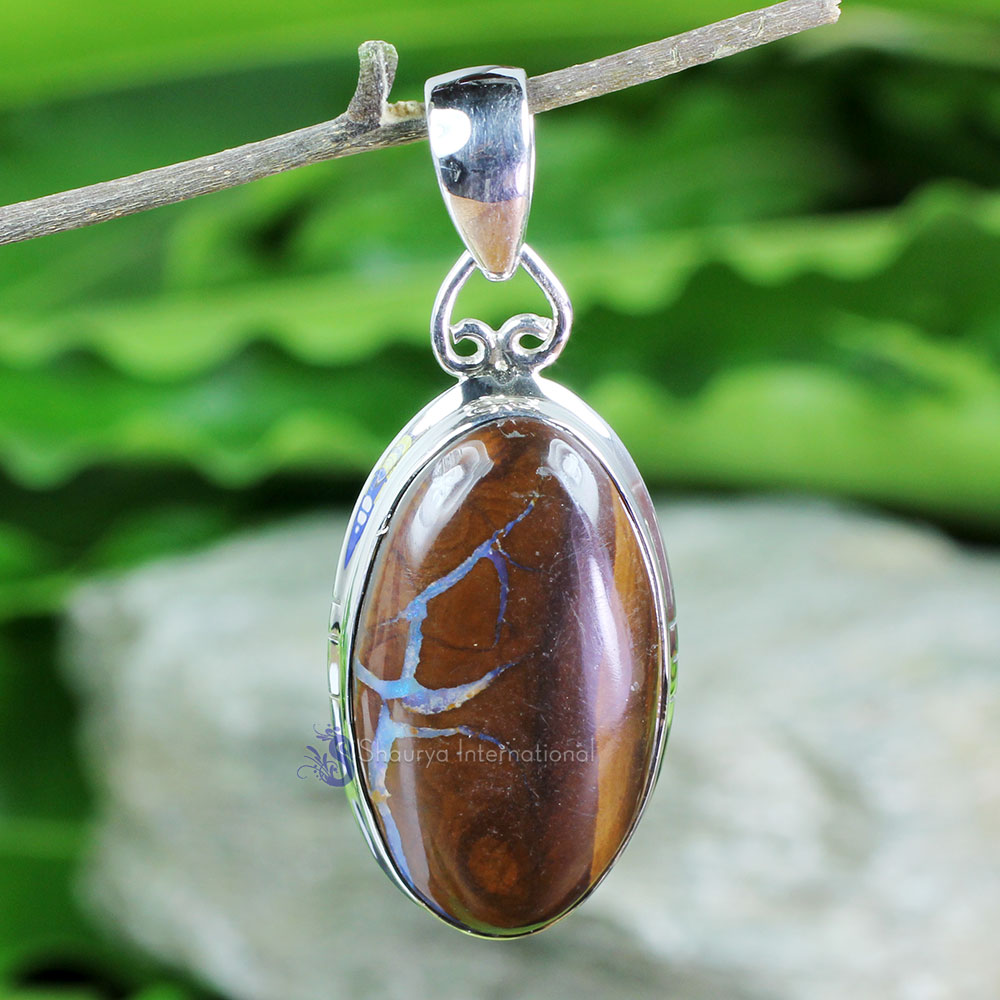 DLB986-Natural Boulder Opal Gemstone Plain Setting Pendant With 925 Sterling Silver Wholesale