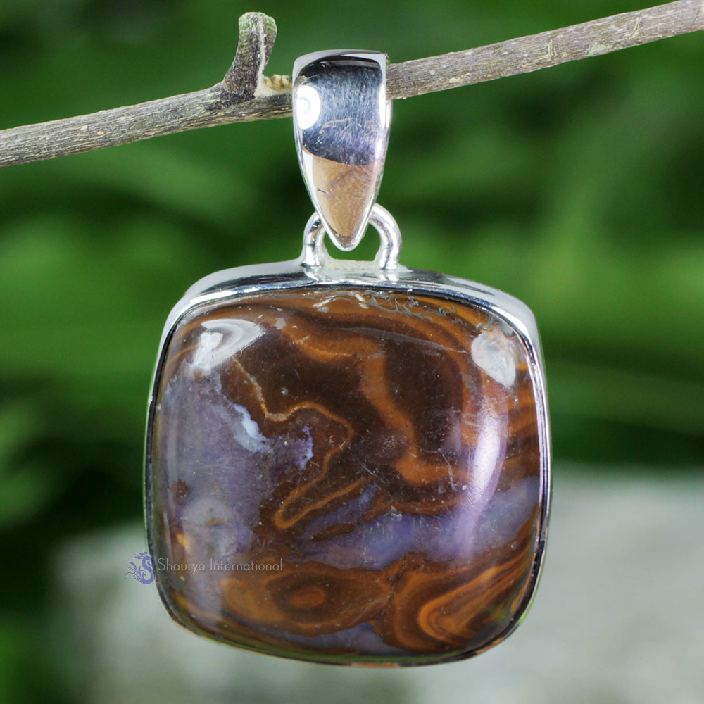 DLB983-Plain Setting Pendant With Natural Boulder Opal Gemstone Made In 925 Sterling Silver Handmade