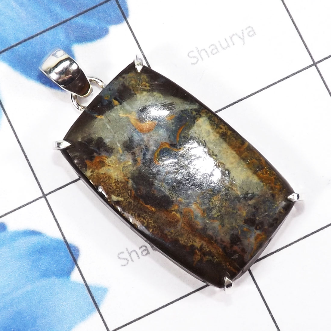 DLB995-925 Sterling Silver Beautiful Prong Setting Pendant With Boulder Opal Gemstone Wholesale