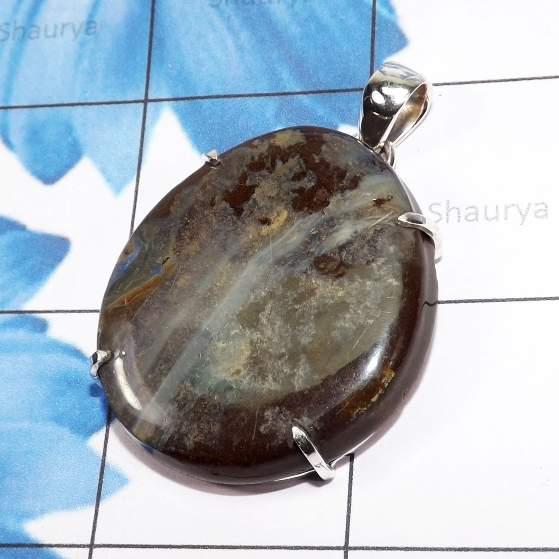 DLB994-Prong Setting Pendant With Boulder Opal Gemstone Wholesale Made In 925 Sterling Silver