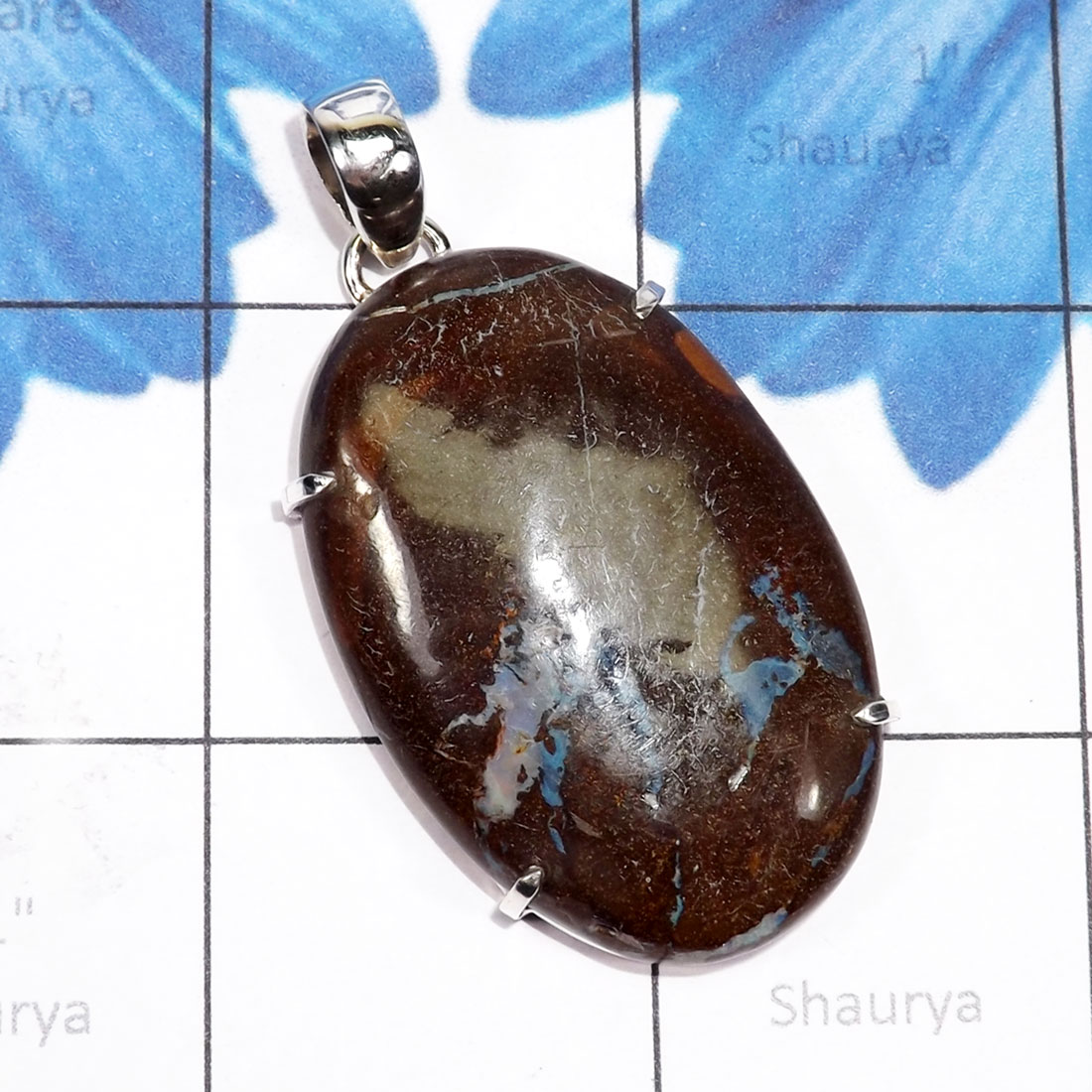 DLB989-Prong Setting Beautiful Pendant Made In 925 Sterling Silver Natural Boulder Opal Gemstone Wholesale