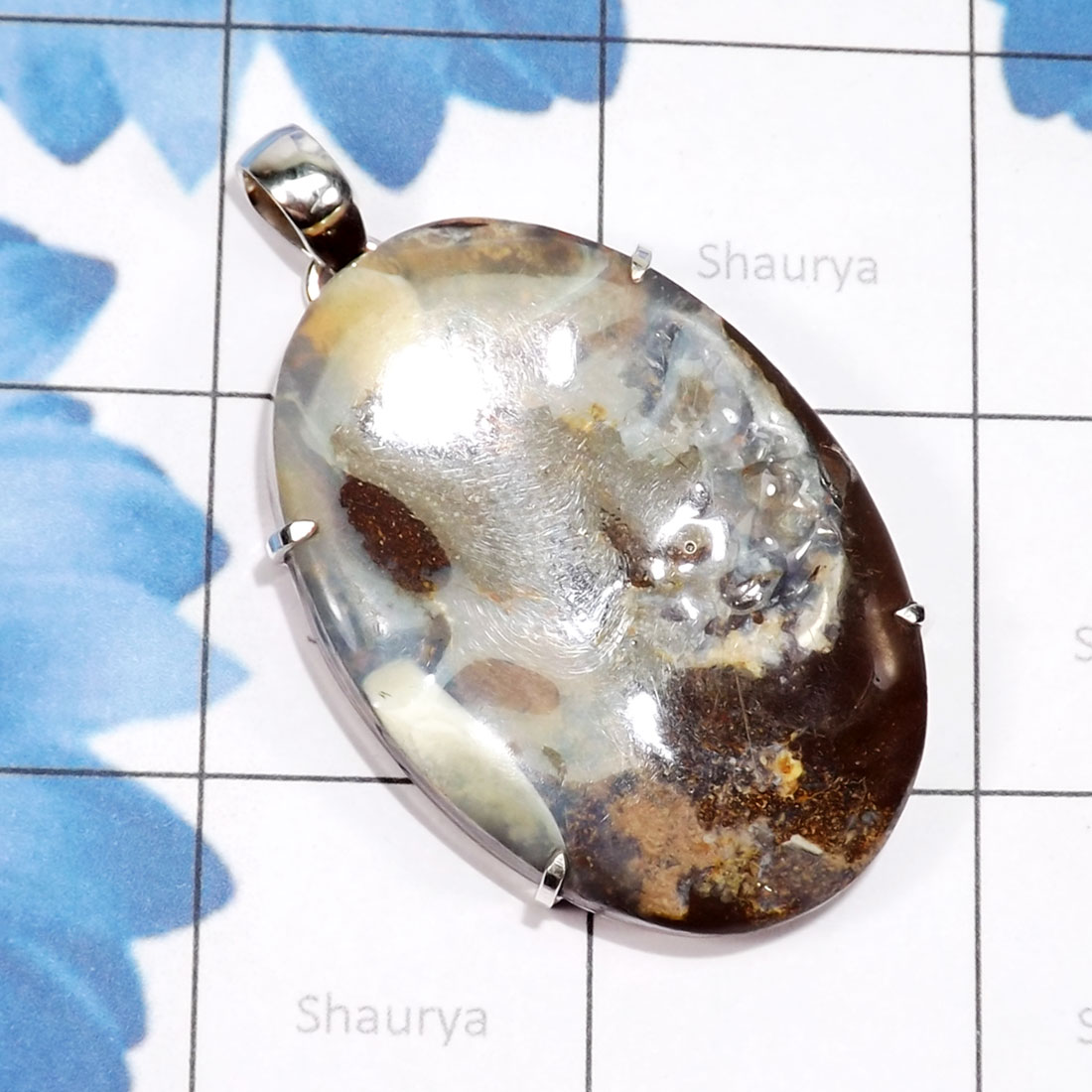DLB988-Natural Boulder Opal Gemstone Prong Setting Beautiful Pendant With 925 Sterling Silver Wholesale