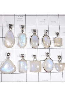 WSL994-925 Sterling Silver Rainbow Moonstone Pendants 100 gram Combo Pack 10 Pcs