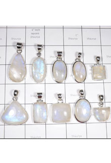 WSL998-100 gram Cabochon Rainbow Moonstone Made in 925 Sterling Silver 10 Pcs Pendant Lot