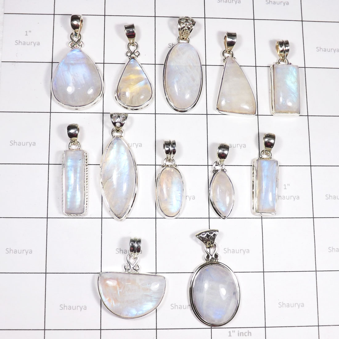 WSL997- Rainbow Moonstone Wholesale Made in 925 Sterling Silver 100 gram Combo Pack