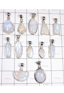 WSL997-Rainbow Moonstone 925 Sterling Silver Pendent 12 PCS