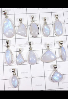 WSL996-Wholesale Rainbow Moonstone 925 Sterling Silver Direct Factory Made 12 Pcs Pendant Lot