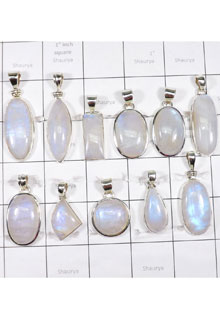 WSL992- Rainbow Moonstone 925 Sterling Silver Pendants 100 gram Wholesale Lot 11 Pcs