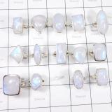 WSR999-925 Sterling Silver 100 gram Rainbow Moonstone Wholesale Lot 14 Pcs