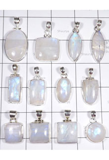WSL989-100 gram Natural Rainbow Moonstone Wholesale Lot with 925 Sterling Silver Pendants 12 Pcs