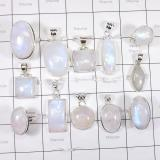 WSL992- Rainbow Moonstone 925 Sterling Silver Pendants and Rings 100 gram 12 Pcs