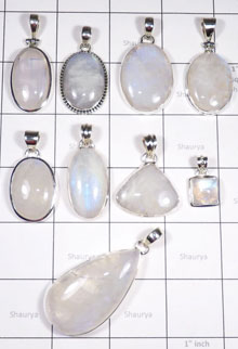 WSL986- Wholesale 100 Gram 925 Sterling Silver Rainbow Moonstone Pendants Lot 9 Pcs