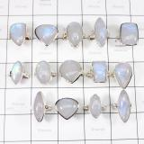 WSR997- Rainbow Moonstone Rings Lot Wholesale 100 gram 925 Sterling Silver 14 Pcs