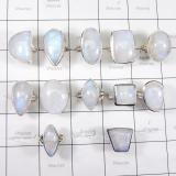 WSR996-925 Sterling Silver 100 gram Natural Rainbow Moonstone Rings Wholesale Lot 12 Pcs