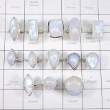 WSR995-Wholesale 100 gram Natural Rainbow Moonstone Lot with 925 Sterling Silver Rings 13 Pcs