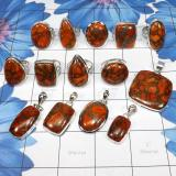WSR992-925 Sterling Silver Geniune Copper Red Turquoise Gemstone 100 gram Wholesale Lot Rings and Pendants 14 pcs