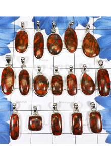 WSL979-925 Sterling Silver Geniune Copper Red Turquoise Gemstone Wholesale Lot Pendants 17 Pcs