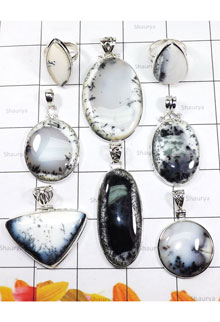 WSL967-925 Sterling Silver 100 gram Dendritic Agate Wholesale Lot Pendants and Rings 8 Pcs