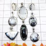 WSL981-925 Sterling Silver 100 Gram Dendritic Agate Wholesale 8 Pcs