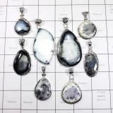WSL980-Dendritic Agate 100 gram Wholesale 925 Sterling Silver 8 Pcs