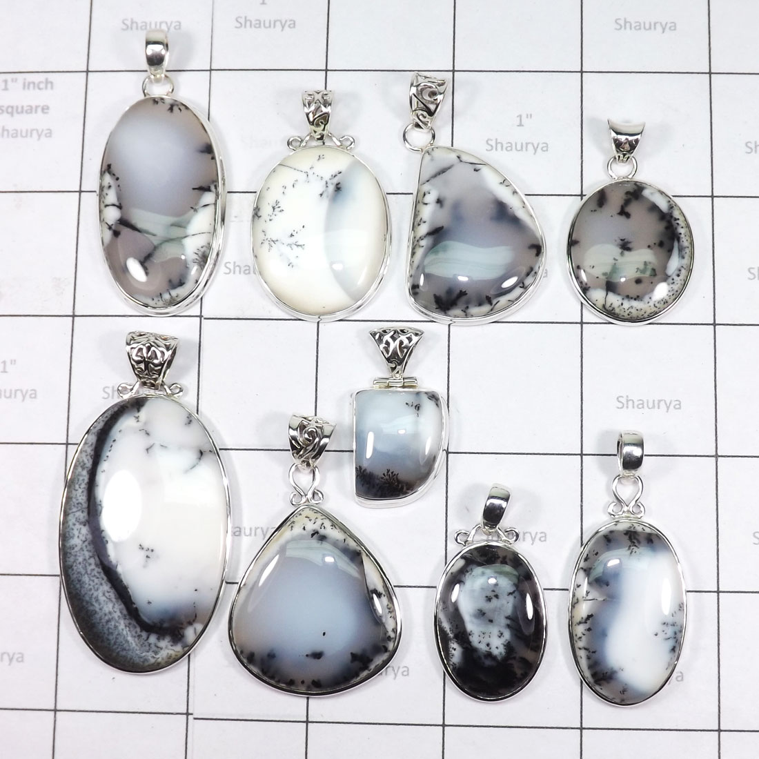 WSL978- Wholesale 100 gram Dendritic Agate With 925 Sterling Silver 9 Pcs