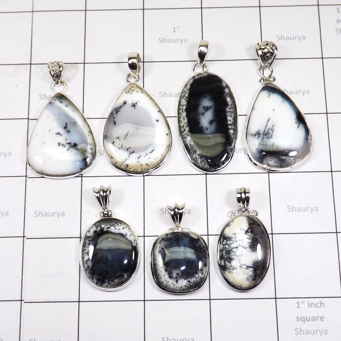 WSL977-100 gram Dendritic Agate With 925 Sterling Silver Wholesale 7 Pcs Pendants