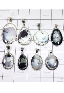 WSL962-100 gram Wholesale Lot Dendritic Agate Pendants Direct Factory Made 8 Pcs