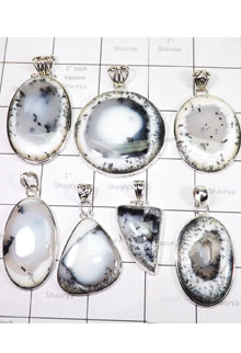 WSL961-Wholesale Lot Dendritic Agate 100 gram 7 Pcs Pendants With 925 Sterling Silver
