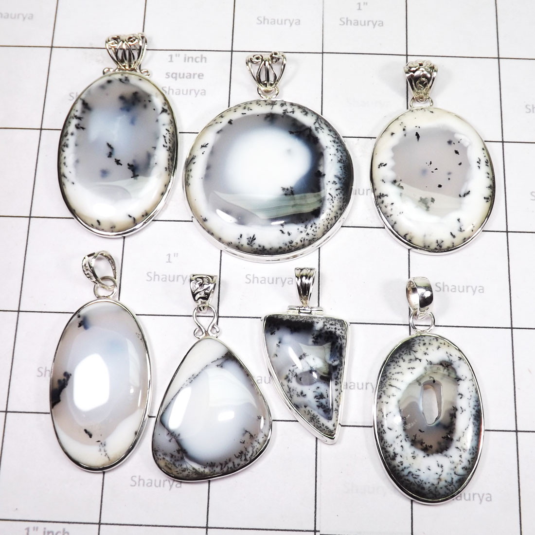 WSL975-925 Sterling Silver 100 gram Dendritic Agate Wholesale Pendants 7 Pcs