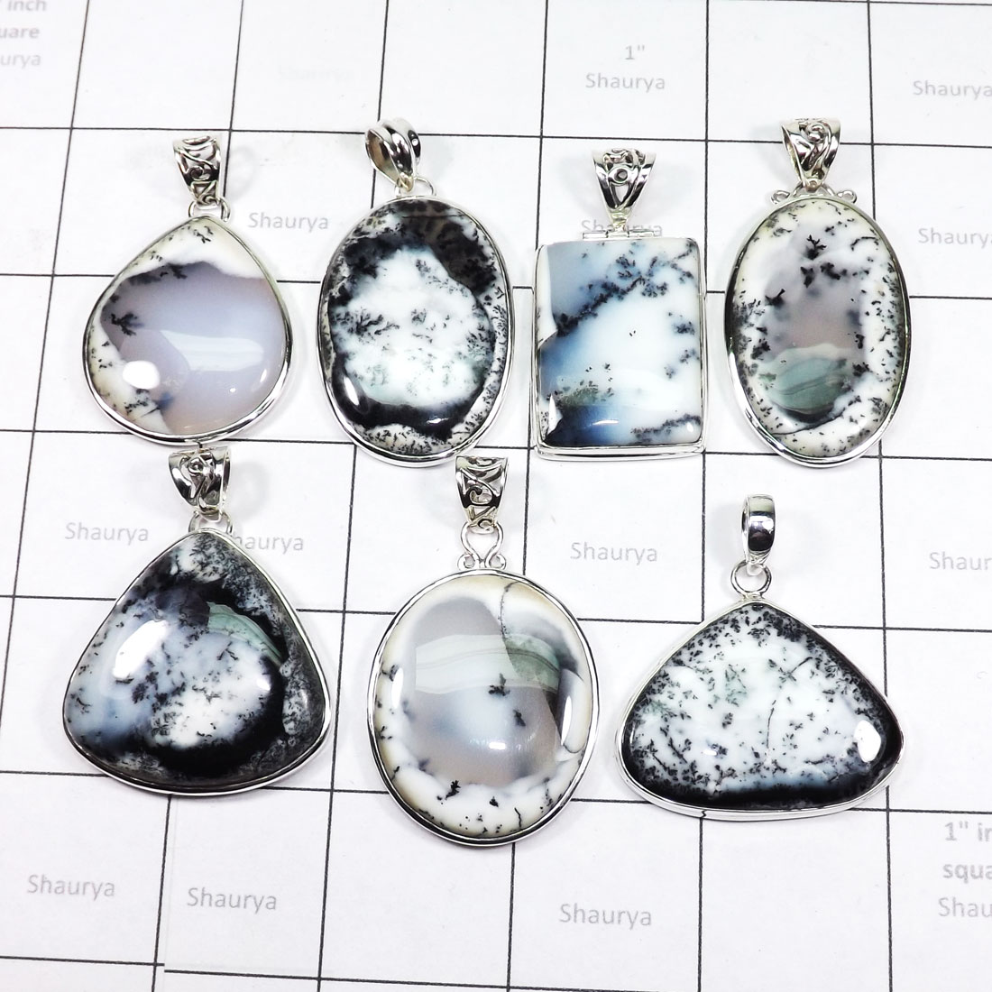 WSL973-Wholesale Dendritic Agate With 925 Sterling Silver 100 gram Pendants 7 Pcs