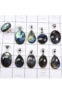 WSL968-Natural Fire Labradorite Wholesale 100 gram Combo Lot Direct Factory Made Ring and Pendants 10 Pcs