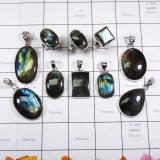 WSL987- 925 Sterling Silver Natural Fire Labradorite 100 Gram Combo Lot Wholesale Pendants and Rings 10 Pcs