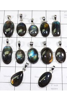 WSL975-100 gram Natural Fire Labradorite Wholesale Lot Pendants With 925 Sterling Silver 12 Pcs