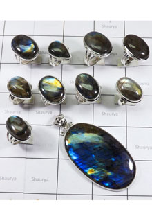 WSL973-Natural Fire Labradorite Combo Lot 100 gram With 925 Sterling Silver 10 Pcs