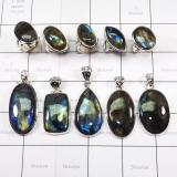 WSR989- 100 gram Combo Lot Natural Fire Labradorite Rings and Pendant Wholesale 10 pcs