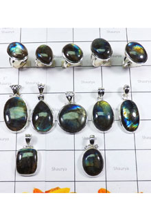 WSL970-Wholesale Combo Lot Natural Fire Labradorite 100 gram With 925 Sterling Silver Pendants and Rings 11 Pcs