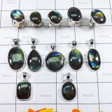WSL984-Natural Fire Labradorite 100 gram Wholesale With 925 Sterling Silver Combo Lot Pendants and Rings 11 Pcs
