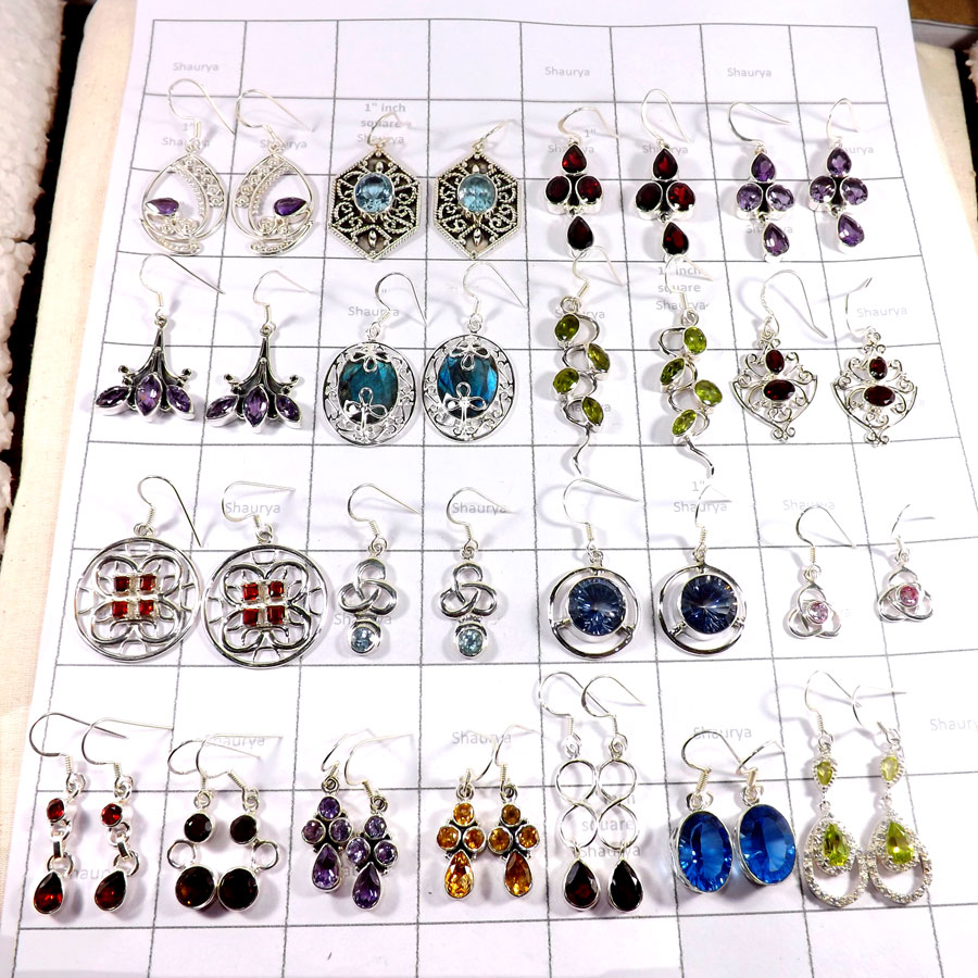 CBP998-20 Pairs Earrings Mix Cut Gemstones 925 Sterling Silver Wholesale Lot